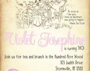 Classic Winnie The Pooh Birthday Invitation (DIGITAL COPY)