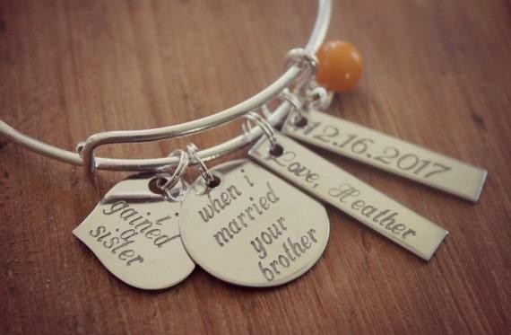 Wedding Gift Ideas For Sister Uk : Sister of the Groom Gift Sister In Law Bracelet by HoneyThorns