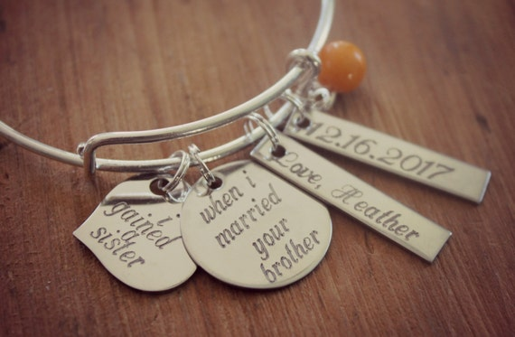 Sister of the Groom Gift Sister In Law Bracelet by HoneyThorns
