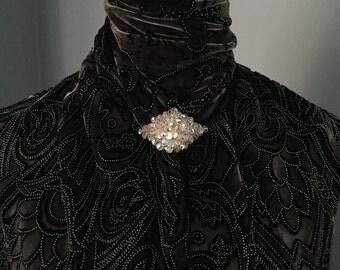 Vintage Aurora Borealis Crystal Bead Pin/Brooch on a Metal Filigree Backing