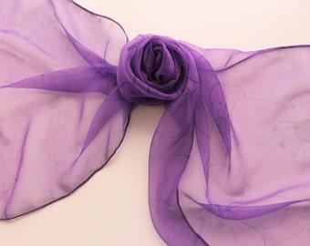 "Hand painted silk scarf. Handpainted silk scarf. Purple silk chiffon scarf with flowers. 16 x 58"",  40 x 147 cm."