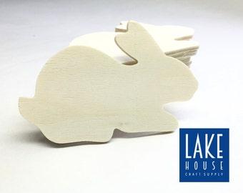 Plain Wood Bunny Plaques. Mini Bare Wood Rabbit Shapes. CLEARANCE SALE