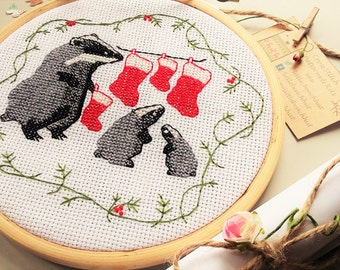 Family cross stitch pattern, Badger cross stitch, family embroidery, family tree gift, sewing pattern, animal pattern, modern cross stitch,
