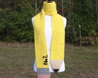 Crochet PATTERN - Pencil Scarf / School, Education, Gift, Back to School, Neck Warmer, Teacher Appreciation -PATTERN ONLY