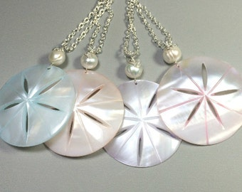 Shell and Pearl Necklace- Shell Necklace-Pearl Necklace-Beach Necklace-Sand Dollar Jewelry- Pendant Necklace