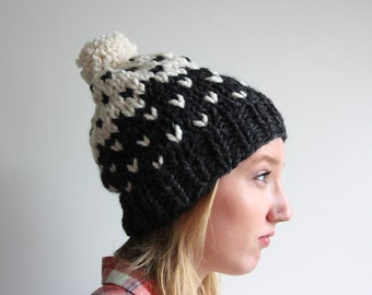 Hand Knit Slouchy Ombré Pom Hat - The Geneva Hat - Charcoal & Fisherman - WARM + COZY!