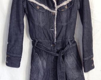 Coat vintage, jeans and faux fur, Lee Cooper, T M.