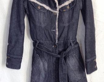 Vintage, jeans and faux fur, Lee Cooper, coat size M, US 28, UK 10 F.