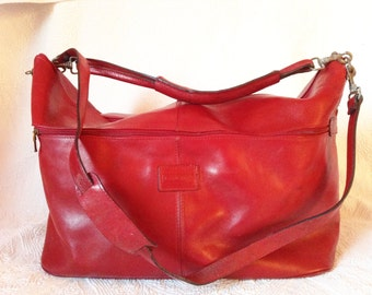 Bag weekend, bordeaux red leather, Lanchas.