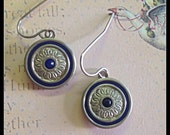 ART DECO 1920s Cufflink Dangle Earrings- Navy Blue/Silver/Blue Stone with Sterling Earwires