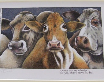 Simon Drew Cows are vegetarian print signed mounted art for framing BNIB Humourous etsy global gift