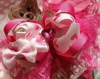 Over the top valentins hair bow