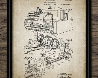 Vintage Earth Mover Patent Print - 1938 Earth Moving Vehicle Illustration - Bulldozer Design - Single Print #599 - INSTANT DOWNLOAD