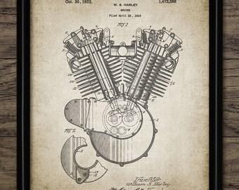 Motorcycle Engine Patent Print - 1923 Engine Design - Classic American Motorcycle Engine - Single Print #881 - INSTANT DOWNLOAD