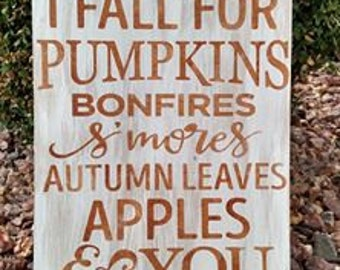 Fall Sign//Pumpkins// Love// Handpainted//Home Decor
