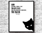Victor Hugo Quote - Cat Art Printable - Cat Black and White - Victor Hugo Poster - Minimalist Art - Cat Digital Art - Victor Hugo Printable