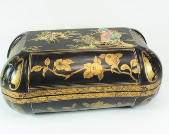 Vintage Chinese Lacquered Box, Vintage Asian Box, Lacquered Box, Vintage Asian Lacquered Box, Hand Painted Box, Vintage Asian Collectible