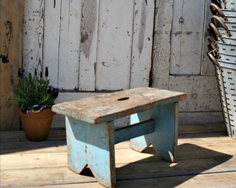 Beautiful Blue Wooden Painted Stool