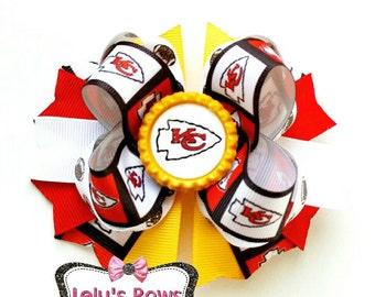 Kansas City Chiefs Hair Bow, Kansas City Chiefs hairbow, Chiefs hairbow, Chiefs bow,  KC Chiefs clip, Chiefs football, Kansas City Chiefs