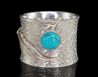 Turquoise & 925 Sterling Silver Ring with Feather Detail, Dress Ring, Gemstone Ring #B223