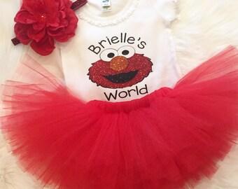Elmo Inspired Birthday Glitter Shirt - Elmo Birthday Shirt - Elmo's World - 1st Birthday - 2nd Birthday