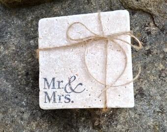 Mr & Mrs. Coaster Set, Natural Stone Coasters, Mr. And Mrs. Coaster Set, Mr and Mrs Wedding Coaster Set of 2-8 Coasters, Rustic Wedding Gift