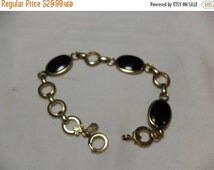 SALE Amco Black Onyx bracelet, Gold filled link bracelet, smaller wrist, hipster high fashion, vintage jewelry, gift for her, Gingerslittleg