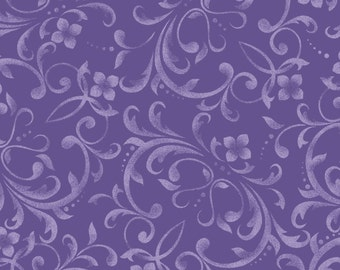 Scroll Lilac (8606-V) Fresh Lilacs Collection by Maywood Studio Cotton Fabric Yardage
