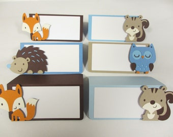 Woodland Animal Food Buffet Tents / Place Cards Birthday Party Shower Set of 6 Brown Blue Beige Fox Owl Squirrel Hedgehog