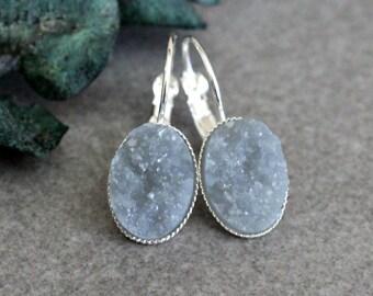 Grey Drop Earring, Grey Earrings, Grey Druzy Earrings, Grey Drop Earring, Grey Lever Back Earring, Grey Dangle Earrings, Gray Earrings