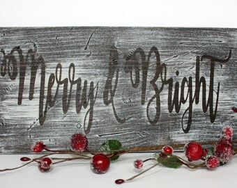 Merry & Bright Sign, Rustic Christmas Sign, Christmas Wood Sign, Wood Sign, Christmas Decor