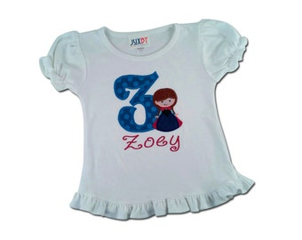 Girl's Cutie Snow Princess Birthday Top with Number and Embroidered Name