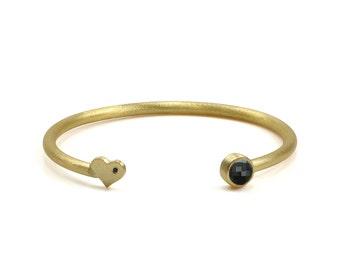 SALE - Black onyx bezel bracelet,half bracelet,gemstone bracelet,black heart bracelet,cubic zircon bracelet,gold bracelet