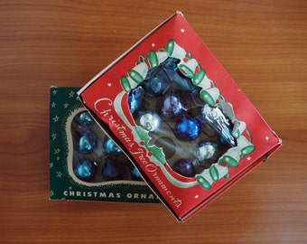 23 Miniature Glass Balls Christmas Ornaments / Two Boxed Sets / Shades of Blue and Silver / Made in Japan