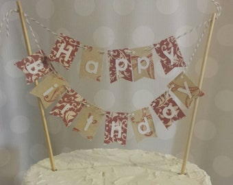 """Cake Bunting, """"Shabby Chic Red"""", Happy Birthday, Cake Topper, Paper banner"""