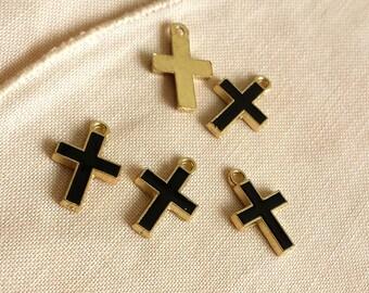 10 pcs 11x16mm  Black  Cross charms, Color Oil Drop Metal charm,  Cross  Pendant , Enamel Charms
