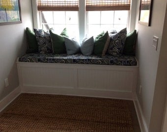"Window Seat Cushion Cover with Piping/Zipper - 30"" x 79"" x 3"" - bench cushion"