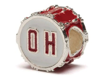 Red Ohio State OH Bead Charm - Fits Pandora