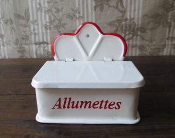 Vintage French Red and White Enamel Allumettes/Match Box