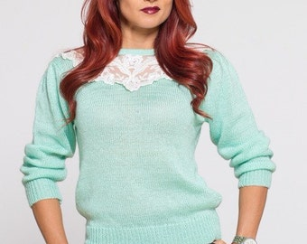 VTG 80's Mint Green Lace Neck Pull Over Girly Sweater