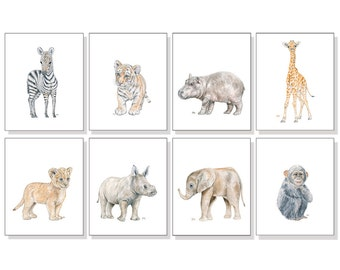 Safari Animal Prints Jungle Animal Print Safari Nursery Art Gender Neutral Art Elephant Giraffe Lion Zebra Tiger Rhino Hippo Monkey Set of 8
