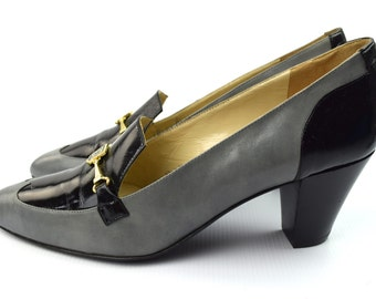GIVENCHY Vintage Silver Grey Black Leather Cout Style Shoes US 8.5 UK 6