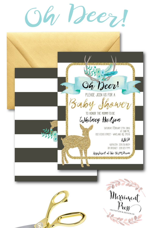 Oh Deer Baby Shower Invitation // Itu0027s A Boy // Fawn Invitation // Boy //  Blue // Grey // Woodland // Gold Glitter // OXFORD COLLECTION
