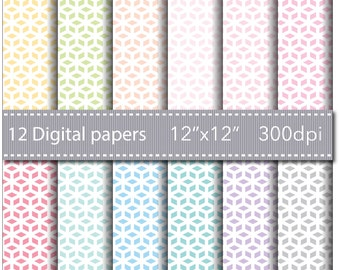 INSTANT DOWNLOAD - 12 BASIC Scrapbooking Papers - 12 Cube Digital Paper - 12'' x 12'' - High Quality 300 dpi