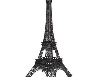 Tall Metal Eiffel Tower Paris France Stand, 20-inch, Black