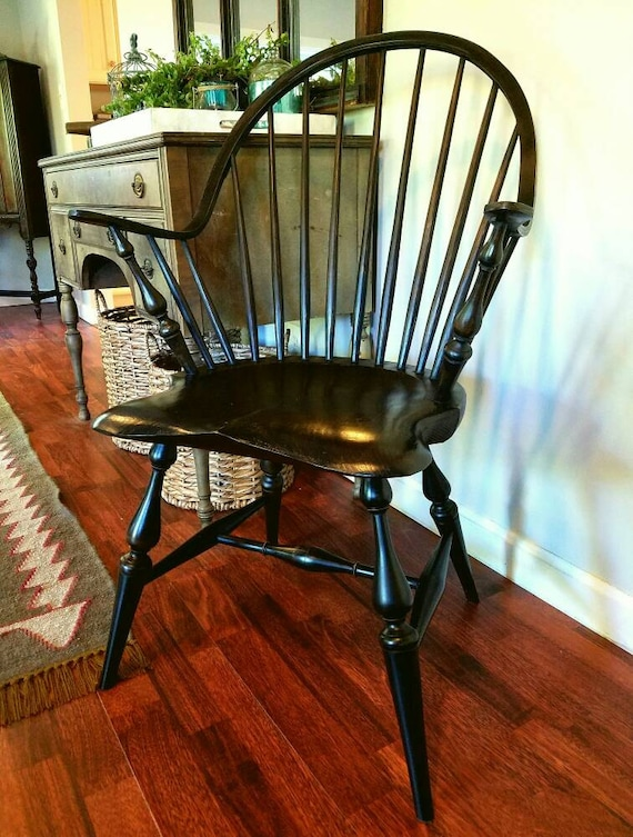 windsor chair with arms continuous arm windsor chair with black over red milk paint 22157 | il 570xN.1105038531 onec