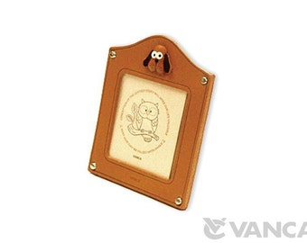 Dog Leather Square Picture/Photo Frame *VANCA* Made in Japan #26152 Free Shipping