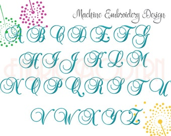 FANCY SCRIPT MONOGRAM Font Embroidery design, 2 inch and 3 inch, bx included, monogram alphabet perfect for frames,  #786