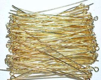 "2"" Gold Plated Eyepins - 100 pcs (3011521)"
