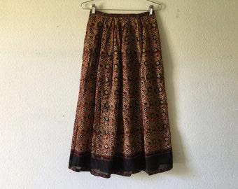Vintage 70s India Cotton Gauze Skirt Boho Hippie